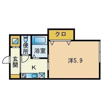 少しコンパクトな1人暮らし向けのお部屋です(※クローゼットは窓側です)
