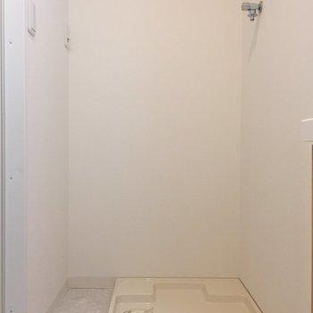 洗面台左奥に洗濯機置場。