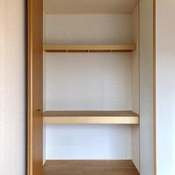 【洋室】奥行きのある3段の収納。衣装ケースや布団を収納できそう。