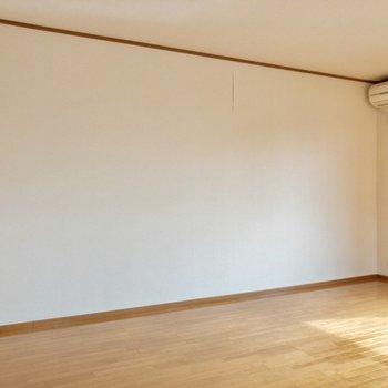 【LDK】間取り図右側の壁は真っさら。大きいテレビ置きたいな~。