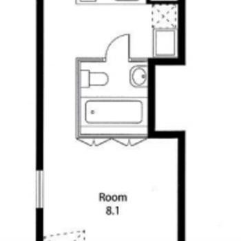 サニタリーをセンターに、2つの空間に分かれた間取りです。