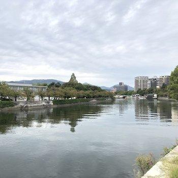 緩やかな流れの川が近くに。
