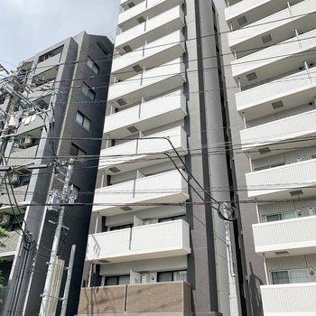 左右に同じくらいの高さのマンション。