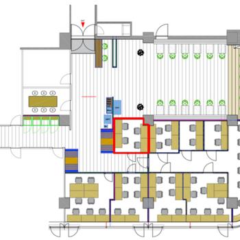 多くの人と出会えるシェアオフィス。赤枠の3名様個室のご紹介。