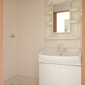 洗面台にも収納できます(※写真は1階の反転間取り別部屋のものです)
