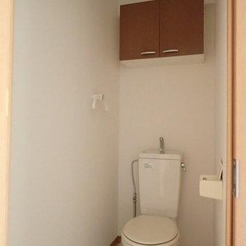 扉付きの棚があります(※写真は1階の反転間取り別部屋のものです)