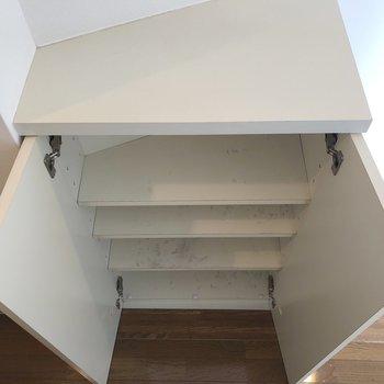 階段手前にシューズボックスがありました。