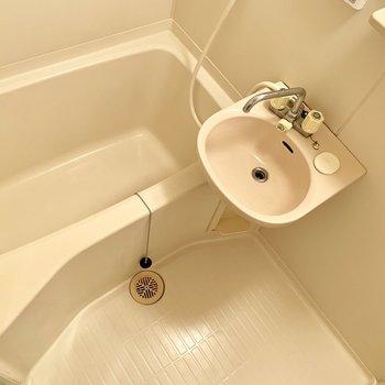 洗面は一緒の空間ですが、ゆったりサイズのお風呂