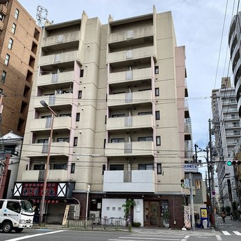 大通り沿いに立つ立派なマンション。