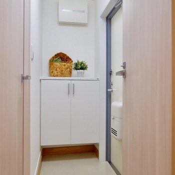 玄関スペースも1人暮らしには十分なスペースあります。※家具・雑貨はサンプルです