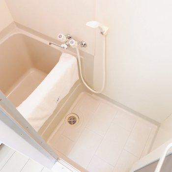 浴室はかなりコンパクトです。※家具・雑貨はサンプルです