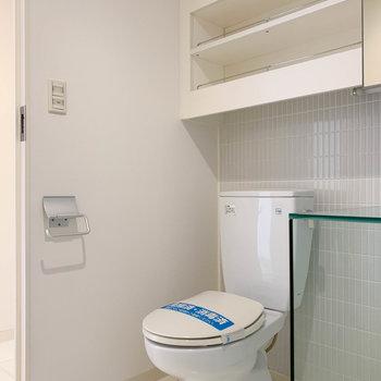 傍にトイレ。上にはタオルなどが置けそうな棚が。