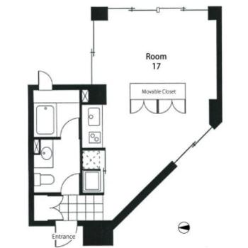 水回りは片側に。動線の整理されたお部屋です。