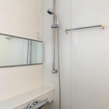 鏡は横に長いものが。タオル掛けなどもあります。