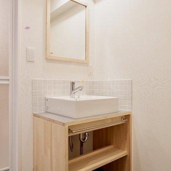 TOMOSのオリジナル造作洗面台です!かわいい〜※写真は前回募集時のものです。