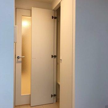 クローゼットは大きなアウターもしっかり入りそうな容量でした※写真は地下1階の同間取り別部屋のものです