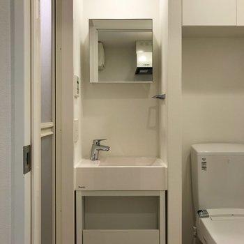 洗面台とトイレが同じスペースにあります※写真は地下1階の同間取り別部屋のものです