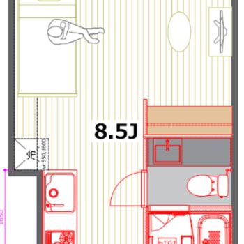 3点分離の嬉しいお部屋!※使用部分の畳数は6帖ほどです。
