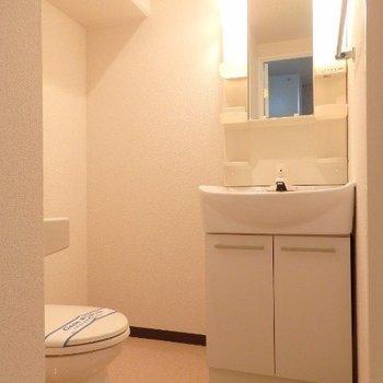 脱衣所に洗面台、トイレがあります。(※写真は5階の反転間取り別部屋のものです)