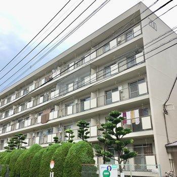道路沿いにある、5階建てのマンション。
