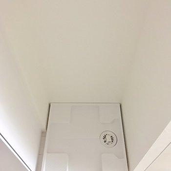 キッチンの左横に洗濯機置き場。※フラッシュを使用して撮影しています