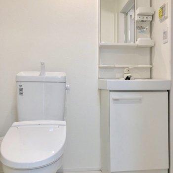 サニタリールームに入るとトイレと洗面台が並んでいます