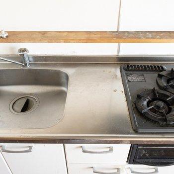 広めのシンクで洗い物も楽に。