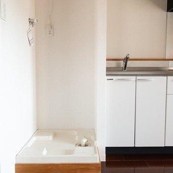 洗濯機置き場は木の扉で隠せます。