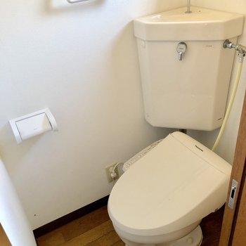 洗濯機置場の隣にはトイレがあります。上を見ると……