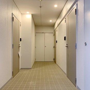 廊下です。電気ついてて明るい