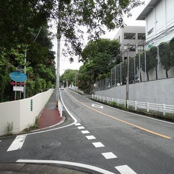 路地に入る前の道。マンションの案内板がありました。