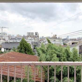 お部屋からは緑と住宅地が見えます。視界を遮るものがありませんね