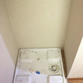 お風呂の隣りにある洗濯機置場