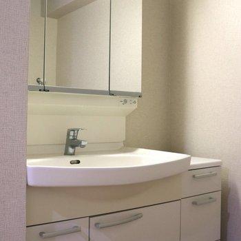 小物収納が付いた洗面台