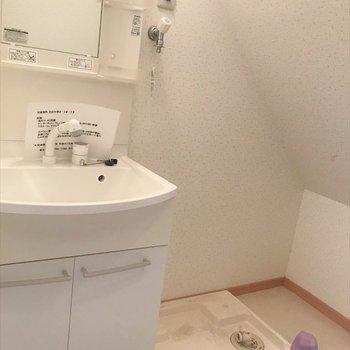 玄関からすぐの水回りスペース! 洗面台の隣には洗濯機置場も◎