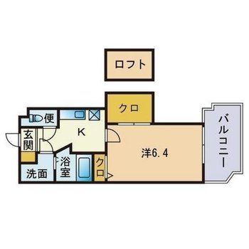 ロフトがあるのでお部屋を広々使えます