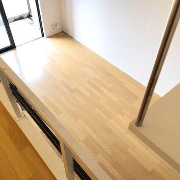 お部屋を広々使うなら、ロフトを寝床にするのがオススメです(※写真は8階の同間取り別部屋、清掃前のものです)
