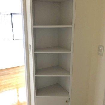 脱衣所にもこんな収納スペースが!(※写真は3階の反転間取り別部屋のものです)