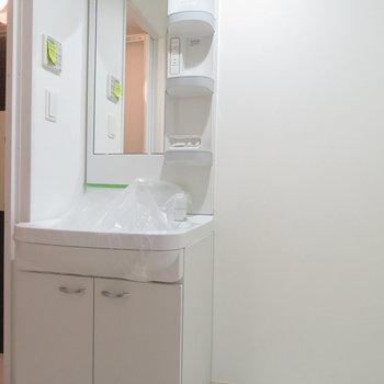 脱衣所には洗面台と洗濯置き場(※写真は4階の同間取り別部屋のものです)