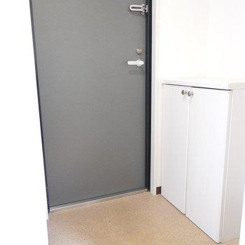 キッチンのすぐ隣に玄関。フラットなので、脱ぎ履きがしやすそう。