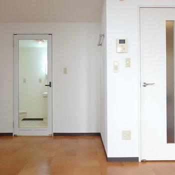 左が脱衣所、右がキッチンと玄関へのドア。