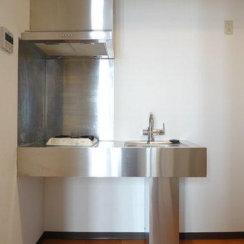 クールさの極み、ステンレスキッチン。冷蔵庫は右手に置けるようです。