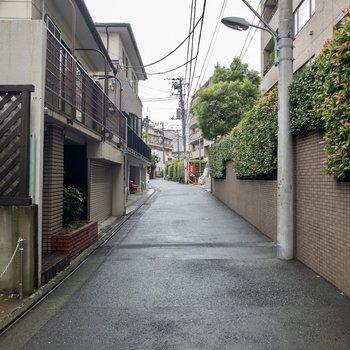 辺りは閑静な住宅街に。