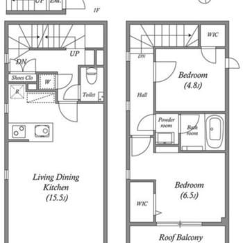 2階と3階に広がるメゾネットです。
