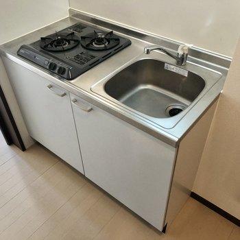 シンクが大きめな2口ガスコンロのキッチン。※写真はクリーニング前のものです