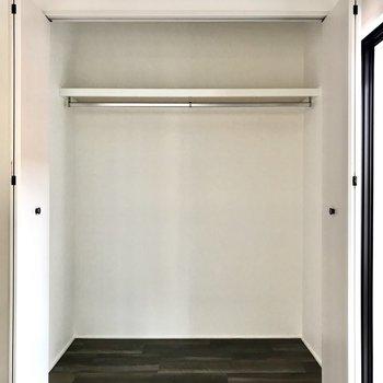 窓辺には大きなクローゼットもありました、奥行きもあって収納ケースも入りそう