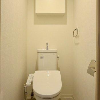 トイレには収納スペースもついています◎※写真は1階の同間取り別部屋のものです