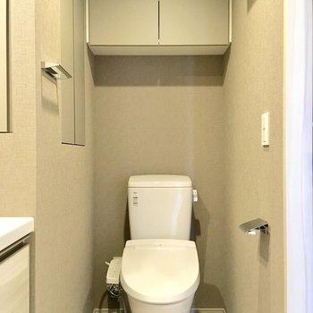 トイレがあります。ストックは上の収納に。※写真は4階の同間取り別部屋のものです
