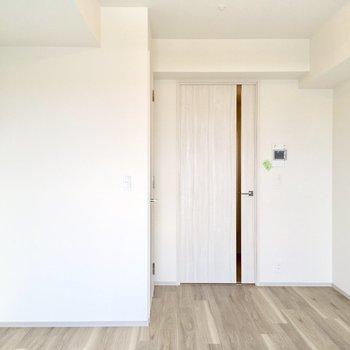 ドアの横にウォークインクローゼットがあります。※写真は4階の同間取り別部屋のものです