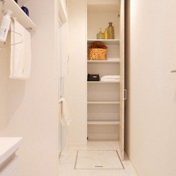 家事スペースも十分にあるサニタリーです。それも収納が沢山なお陰ですかね。